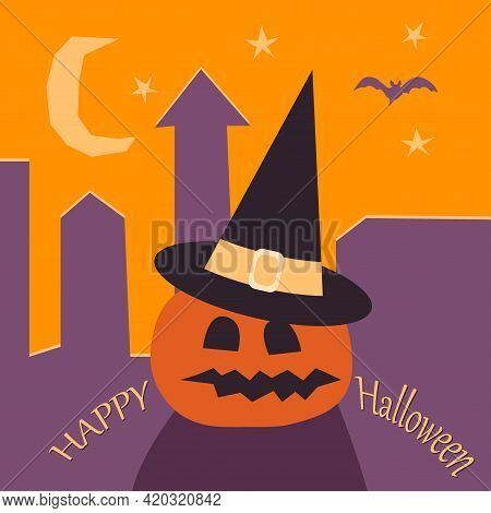 Happy Halloween Card Template. Abstract Helloween Pumpkin In Witch Hat On The Background Of The Roof