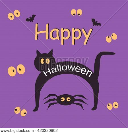 Halloween Party Card Template. Abstract Helloween Black Cat And Spider For Greeting Card Design, Par