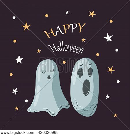 Halloween Party Card Template. Abstract Helloween Ghosts On Purple Starry Background For Greeting Ca