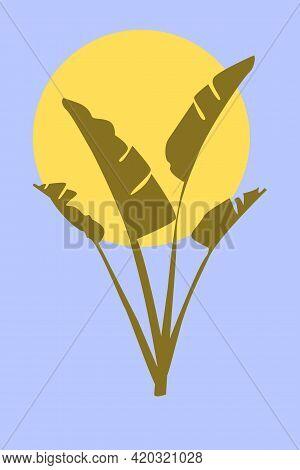 Banana Leaves In Boho Style. Minimalist Abstarct Trendy Artwork For Design T Shirt, Bag, Card, Invit