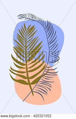 Palm Leaves In Boho Style. Minimalist Abstarct Fashion Artwork For Design T Shirt, Bag, Card, Invita