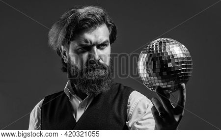 Party Is On. Disco Man In Suit With Sparkling Disco Mirror Ball. Mr. Discoball. Super Cool Disco Clu
