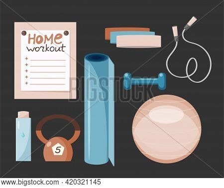 Home And Gym Workout Tools Set. Health Care Concept. Physical Activity And Healthy Lifestyle. Vector