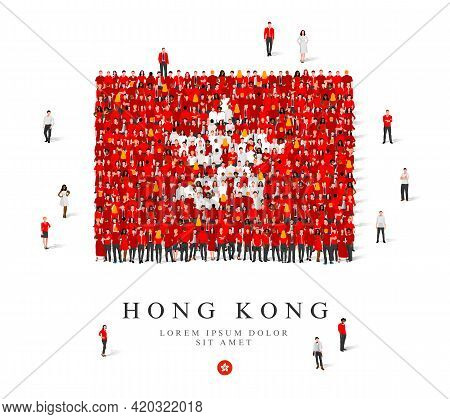 A Large Group Of People Are Standing In White And Red Robes, Symbolizing The Flag Of Hong Kong. Vect