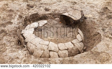 Archaeological Work, Excavated Shingles, Pieces Of Ancient Clay Artifact, Big Vessels In Clay Soil