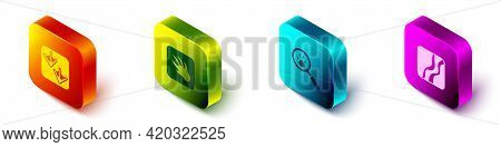 Set Isometric Goose Paw Footprint, Alligator Crocodile, Paw Search And Snake Icon. Vector
