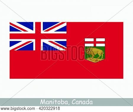 Manitoba Canada Flag. Canadian Province Banner. Flag Of Mb, Ca. Eps Vector Illustration.