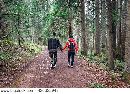 Traveling Outdoor Hiking In Nature. Traveling In Nature. Couple Of Hikers Outdoor In Nature. Nature.