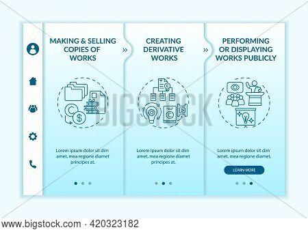 Distinctive Author Rights Onboarding Vector Template. Responsive Mobile Website With Icons. Web Page