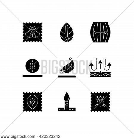 Different Types Of Fabric Black Glyph Icons Set On White Space. Natural Dye, Odor Resistant. Insect