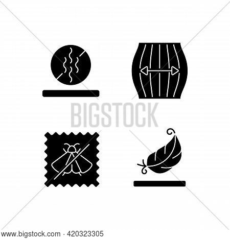 Textile Qualities Black Glyph Icons Set On White Space. Fabric Feature. Odor Resistant. Stretching F