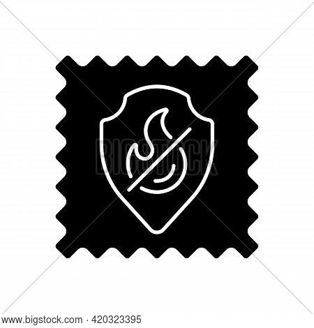 Fireproof Fabric Feature On Fabric Black Glyph Icon. Non Inflammable Fiber Label. Special Textile Qu