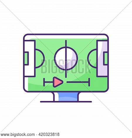 Sports Streaming Rgb Color Icon. Watching Live Sporting Events. Football, Basketball And Baseball Ga