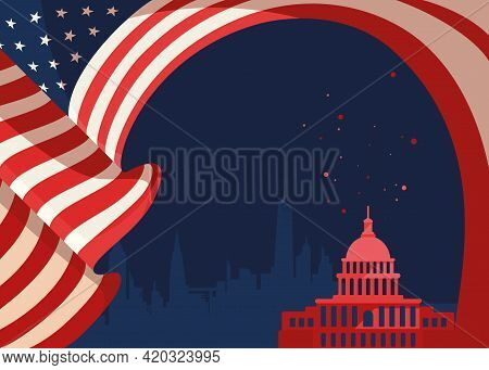 Banner With Flag And Silhouette Of Us Capitol. Concept Art Of Usa Public Holiday.