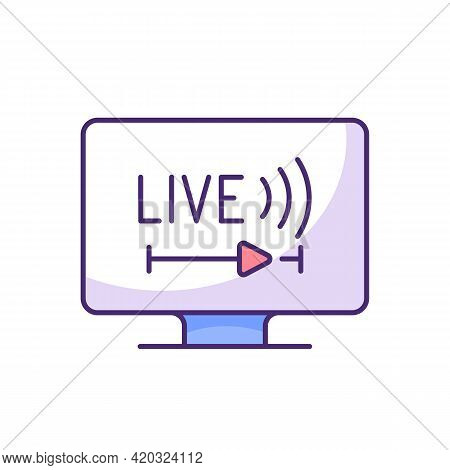 Live Tv Rgb Color Icon. Online Tv Service. Live Television. Programs Broadcasting In Real-time. Stre