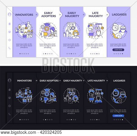 Product Approving Onboarding Vector Template. Responsive Mobile Website With Icons. Web Page Walkthr