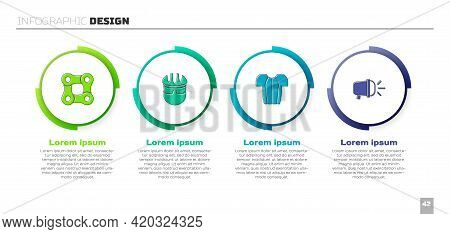 Set Bicycle Chain, Helmet, Cycling T-shirt And Head Lamp. Business Infographic Template. Vector