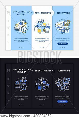 Shoppers Types Onboarding Vector Template. Responsive Mobile Website With Icons. Web Page Walkthroug