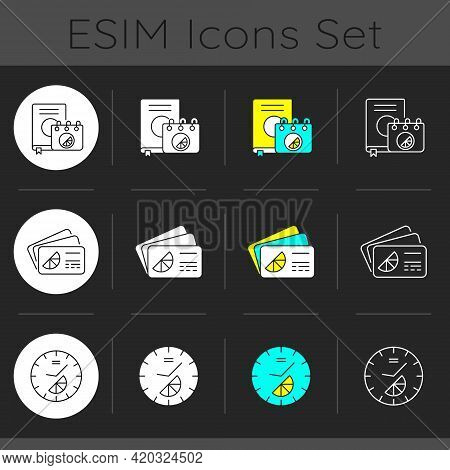 Company Branding Materials Dark Theme Icons Set. Branded Conference And Meeting Id Badges For All Pa