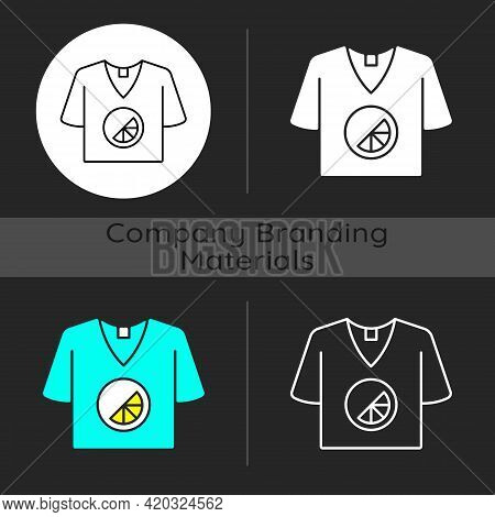 Branded T Shirt Dark Theme Icon. Creating Own Merch To Advertise Company. Marketing Company Plan. De