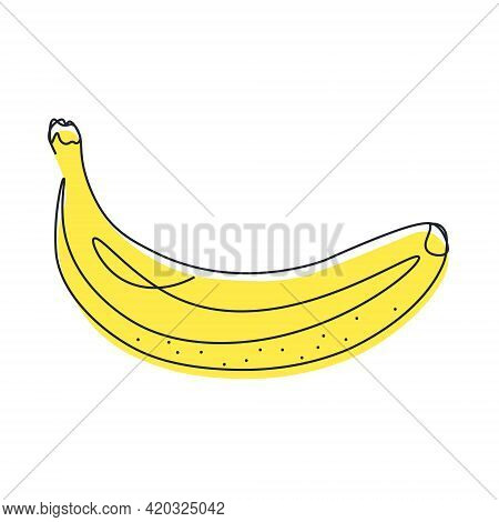 Continuous Vector One Line Drawing Of Banana With Color. Drawing A Whole Fruit With One Line. Abstra