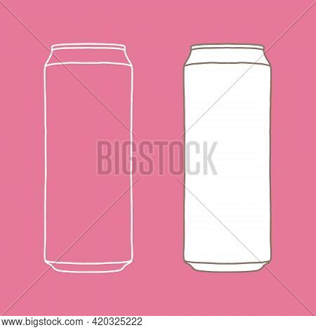 Drink Can Mockup. Hand Drawn Aluminum Can Vector Illustration For Poster, Banner, T-shirt Print, Bag