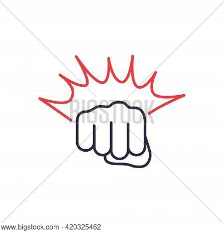 Fist Punching Black Line Icon. Hand, Fist Punching Or Hitting. Symbol Of Mma, Boxing, Fisticuff. Edi