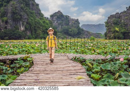 Boy In A Yellow On The Path Among The Lotus Lake. Mua Cave, Ninh Binh, Vietnam. Vietnam Reopens Afte
