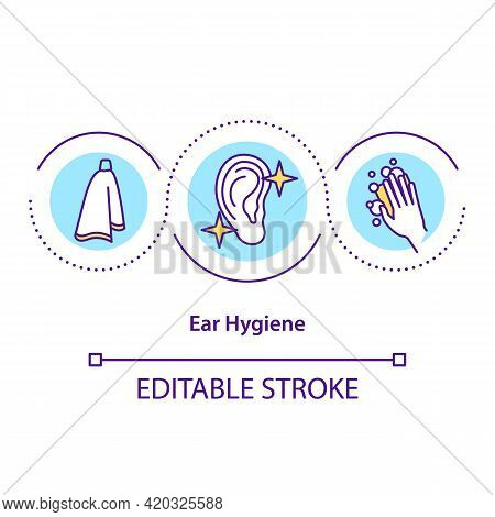 Ear Hygiene Concept Icon. Cleaning Practice Idea Thin Line Illustration. Wax-free Ears. Safe And Wel