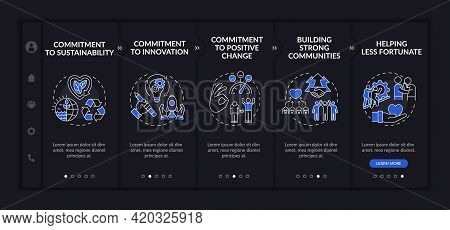 Company Principles Onboarding Vector Template. Responsive Mobile Website With Icons. Web Page Walkth