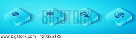 Set Isometric Information, , Headphones And Location With Information Icon. Vector