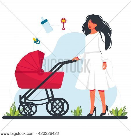 Pretty Woman In Dress With Stroller. Lonely Mom Walking With Their Infant Children. Motherhood And M