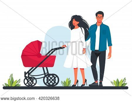 Pretty Woman And Man With Stroller And Baby. Mom And Father Walking With Their Infant Children. Moth