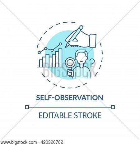 Self Observation Blue Concept Icon. Goal Achievement. Project Management. Personal Motivation. Self
