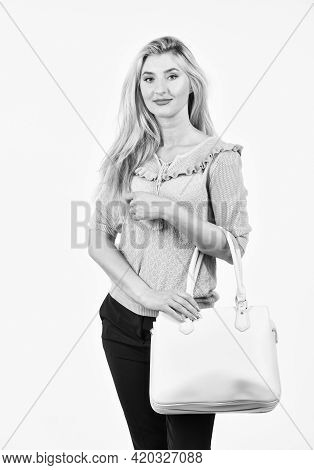 Pretty Woman With Long Blond Hair. Sexy Girl Carry Big Leather Bag. Beauty And Fashion Accessory. Be