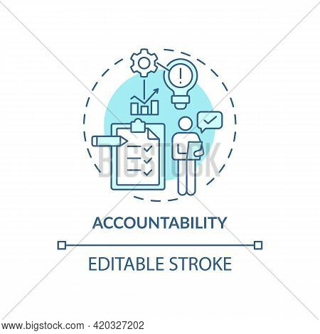 Accountability Blue Concept Icon. Self Regulation. Personal Responsibility. Work Management. Self Co