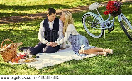 Happy Together. Anniversary Concept. My Darling. Idyllic Moment. Man And Woman In Love. Picnic Time.