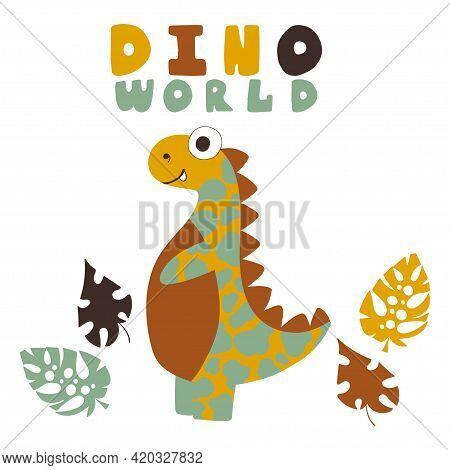 Cartoon Hand-drawn Dinosaur Print For Kids Stock Vector Illustration. Calm Natural Colors Funny Happ