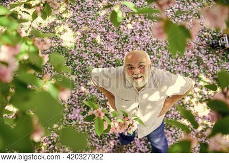 Positive Emotions. United With Nature. Guy Enjoying Life. Good Mood. Happy Old Age. Mental Health. H