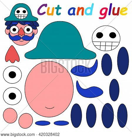 Cut And Glue Game For Kids With Funny Cartoon Pirate Stock Vector Illustration. Educational Papercra