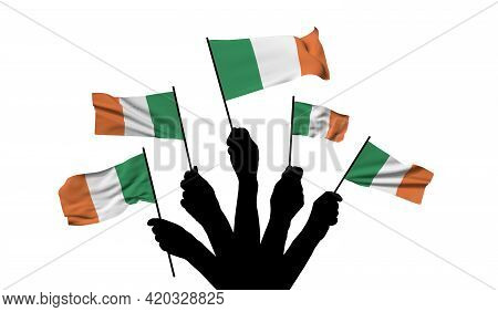 Ireland National Flag Being Waved. 3d Rendering