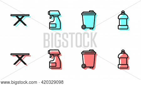 Set Line Trash Can, Ironing Board, Cleaning Spray Bottle And Bottle For Cleaning Agent Icon. Vector