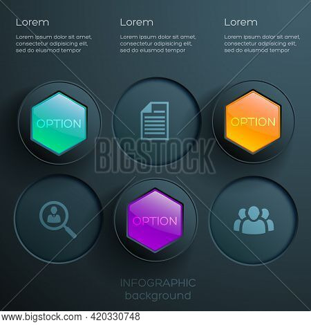 Abstract Web Options Infographics With Icons Colorful Glossy Hexagons And Dark Round Buttons Vector