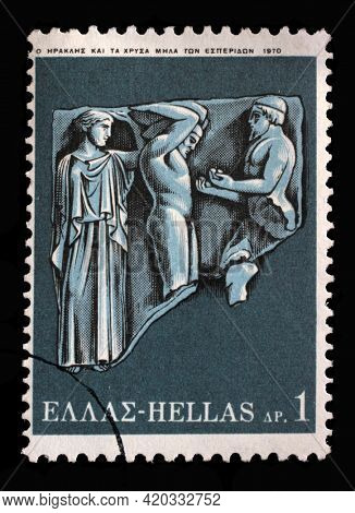 ZAGREB, CROATIA - SEPTEMBER 18, 2014: Stamp printed by Greece shows Hercules Deeds - Hercules and the golden apples of Hesperide, circa 1970