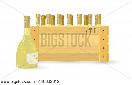 Cartoon Wooden Box Of Wine For Restaurant, Wine Shop Or Export. Vector Alcoholic Drink Made Of Grape