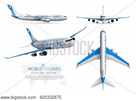 Airplane Design Realistic Identity Set Of World Airlines In Various Views Isolated Vector Illustrati