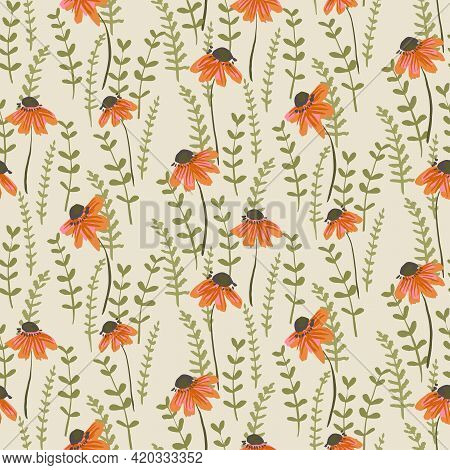 Coloring Ferns Floral Seamless Vector Pattern. A Garden Of Green Ferns Brightened By Orange Flowers
