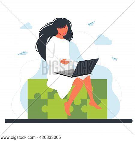 Woman Sitting On Huge Jigsaw Puzzle Element. Business Concept. .creative Idea Integration, Problem A