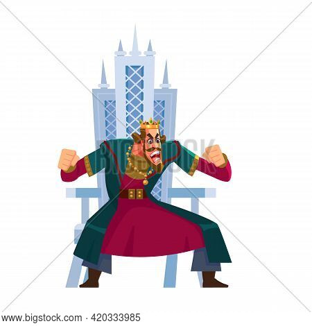 Angry King Shouting Character Sits On The Throne. Anger Emotion, In Rage, Emoji, Emoticon. Tyrant, E