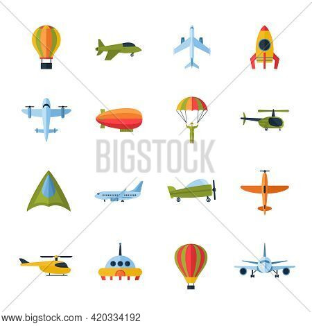 Aircraft Civil And Army Cargo Transport Flat Icons Set With Helicopter Jetliner Parachute Abstract I